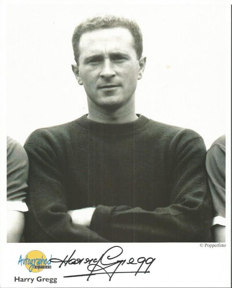 Harry Gregg signed 10x8 colour Autographed Edition