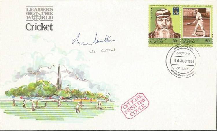 Len Hutton signed Leaders of the world cricket FDC