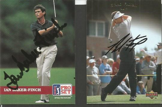 Brad Faxon and Ian Baker-Finch signed trading card