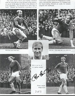 Bobby Charlton signed 10x8 b/w montage photo Good