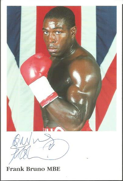 Frank Bruno signed small colour photo Good conditi
