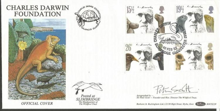 Peter Scott signed Charles Darwin Foundation FDC G