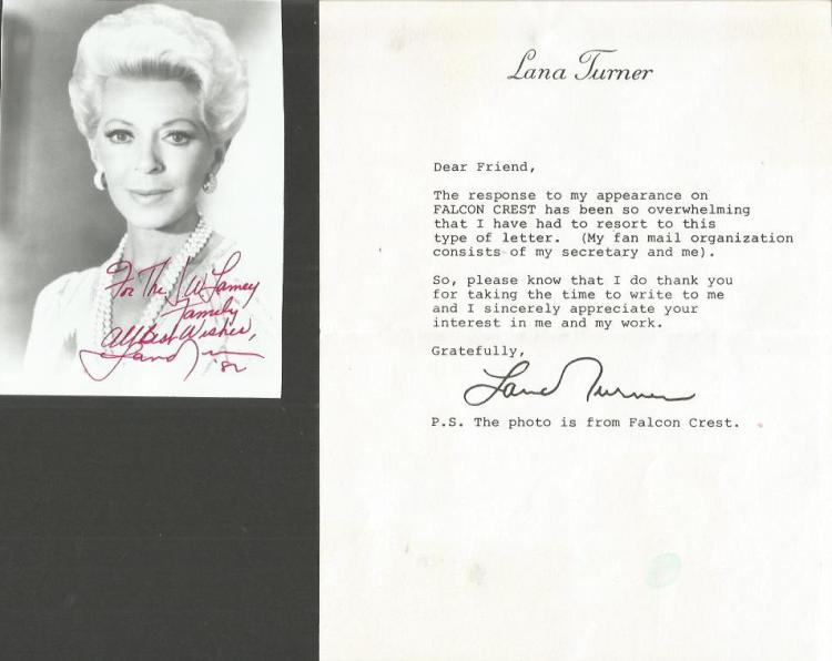 Lana Turner typed signed letter TLS Good condition