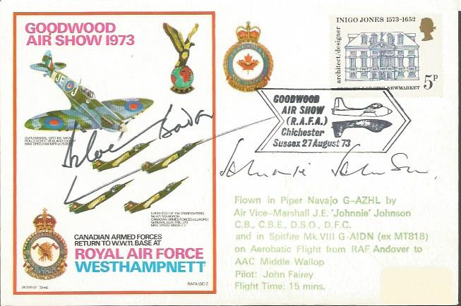 Douglas Bader and Johnnie Johnson signed Goodwood