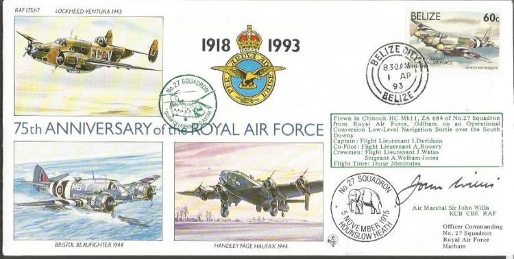 Air Mrshl Sir John Willis signed 75th anniv of the