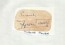 Tyrone Power signed vintage large irregularly cut