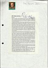 Sir Peter Hall signed printed biography page fixed
