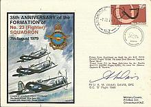 Flt Lt Max Davis DFC signed 35th ann 23 Sqn cover,
