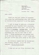 Deborah Kerr typed signed letter dated 1990