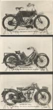Collection of 8 Motorbike E A Sweetman vintage postcards including 1904 Phoenix 4 h.p. 1921 Scott Twin 532c.c. 1928 Velocette 3.48 h.p.