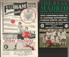 Football Memorabilia Collection of 40+ including old programmes, books, brochures, magazines. Includes Fulham v Leyton Orient 1957, Arsenal v Man Utd 1964. Chelsea v Man Utd 1966, Gillingham v Southend 1957, Leeds Utd 1955 and 1957, Arsenal v Aston Villa 1948, Chelsea v Everton 1959, Man Utd v Ipswich 1963, Chelsea V Middlesbrough 1953, Brentford v Lincoln 1952, Charlton v Bolton 1949, Charlton v Man Utd 1950, Brentford 1950. Hardback book by Lionel Francis 75 years of Southern League football, book The Real Madrid book of Football, few Mirror Football magazines 1970s we think. Condition mixed on early programmes