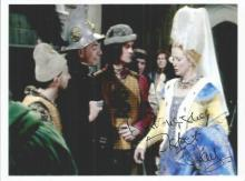 Blackadder Cast collection of six photos mainly 6 x 4 signed by cast members of the comedy show. Includes Tony Robinson, Brian Blessed, Stephen Fry, Tim McInnerny, Helen Wood, Elspeth Gray