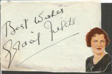 Gracie Fields signed autograph album page with early photo attached