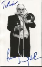 Jimmy Edwards DFC signed 6 x 4 photo to Mark, playing trombone. Good Condition. All signed items