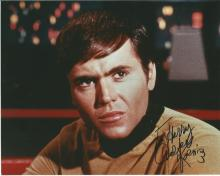 Walter Koenig as Chekov in Star Trek signed 10 x 8 colour photo to Harry. Good Condition. All signed
