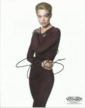 Seven of Nine aka Annika Hansen signed 10 x 8 colour Star Trek photo. Good Condition. All signed