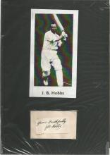 J B Hobbs signature piece, mounted below vintage b/w photo. Mounted to overall approx. size 10x8. 16