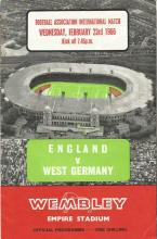 Signed Programme, England V West Germany, Friendly International At Wembley On The 23rd Of