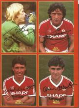 Vintage Poster Depicting Head & Shoulder Images Of 1980s Man United Players Bailey, Gidman,
