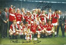 Signed 12 X 8 Photo Manchester United 1985, Players Celebrate With The FA Cup At Wembley After