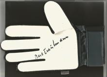 Signed Goalkeeping Glove Bert Trautmann, A Black & Luminous Adidas Glove Superbly Signed Using A