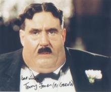 Monty Python Terry Jones signed 10 x 8 photo of Terry Jones in character as Mr Creosote. Good