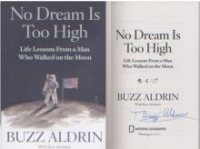 Apollo 11 Buzz Aldrin First Moonlanding. Bold signature of Buzz Aldrin with picture on moon.