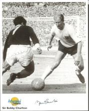 Bobby Charlton signed Autographed Editions 10x8 b/w photo. Also signed by Willie Henderson. Good