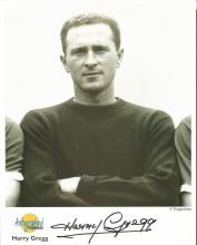 Harry Gregg signed 10x8 b/w Autograph Editions photo. Biography on reverse. Good Condition. All