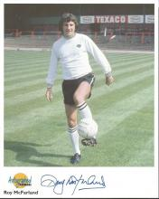 Roy McFarland signed 10x8 colour Autographed Editions photo. Biography on reverse. Good Condition.