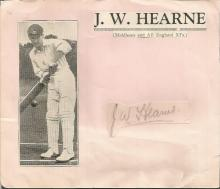 J W Hearne Middlesex and England test player irregular cut pencil signature. Played in 24 test