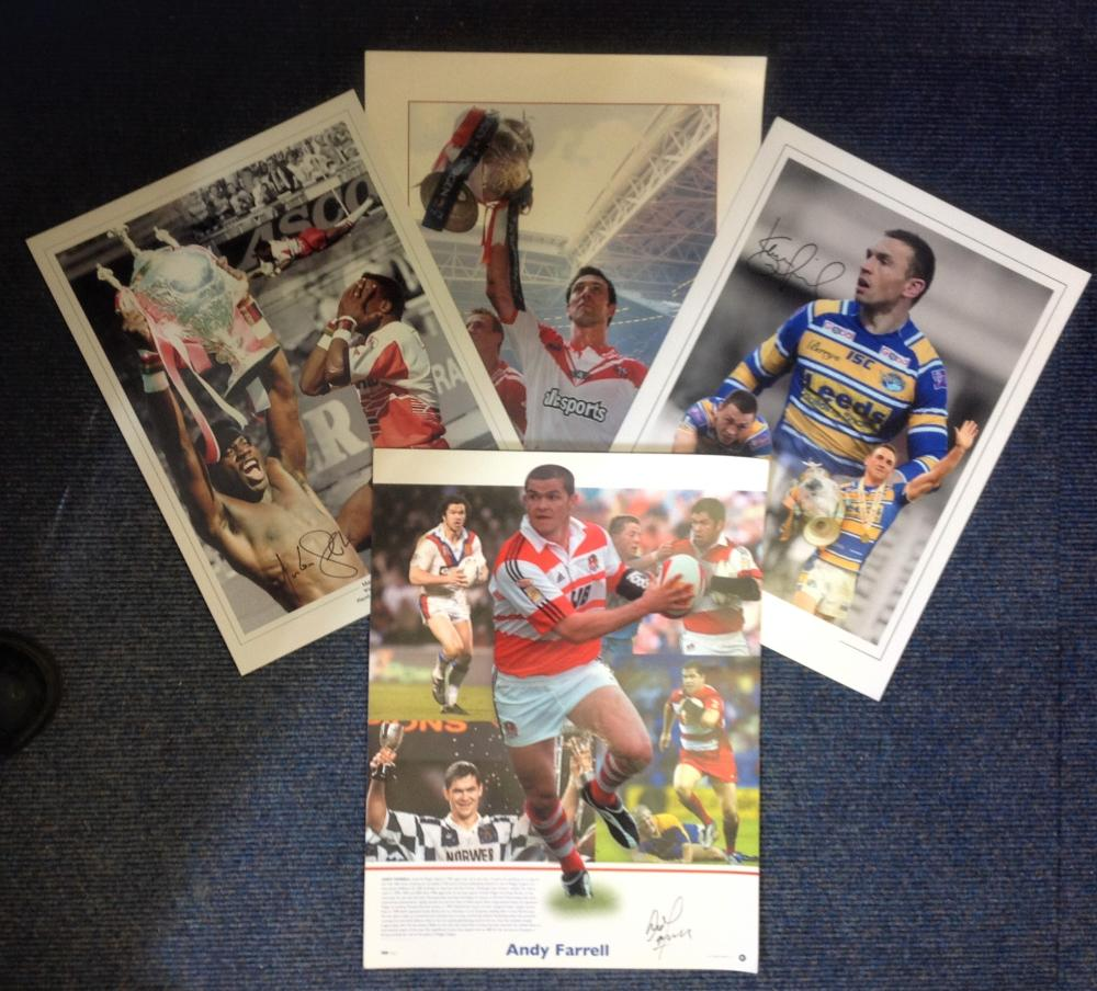 Rugby League legends collection four superb 16x12 signed colour montage photos from four of Englands