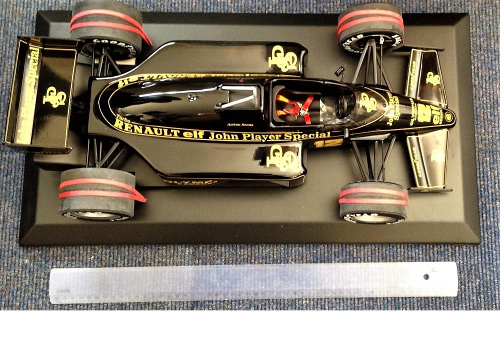 Motor Racing Ayrton Sennas 1985 us John Player Special 97T Formula One scale mode in 1/8 size. The
