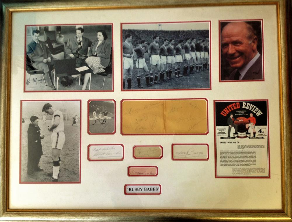 Football Busby Babes 27x36 professionally framed and mounted signature piece. Including legendary