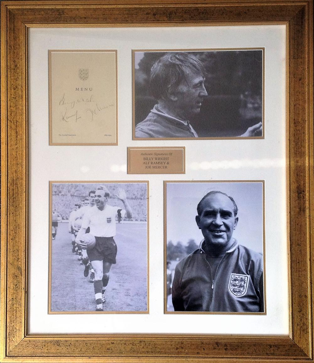 Football Legends Alf Ramsey, Billy Wright and Joe Mercer signed 27x23 mounted and framed signature