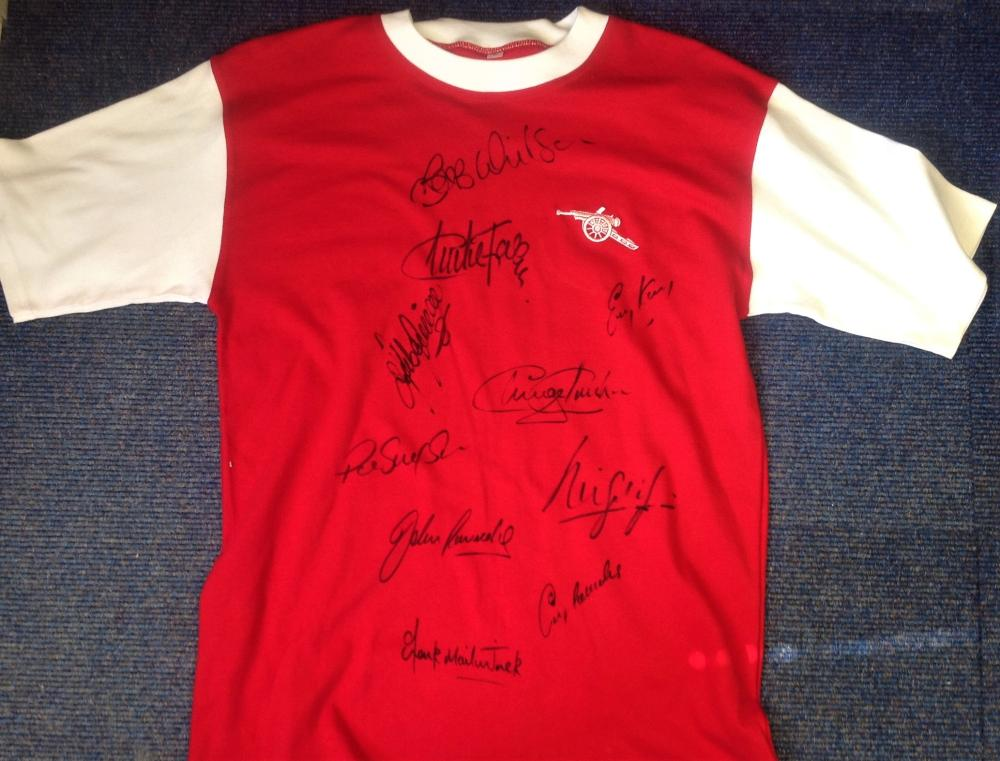 Football Arsenal 1970 replica home shirt signed by 10 of the double winning squad signatures include