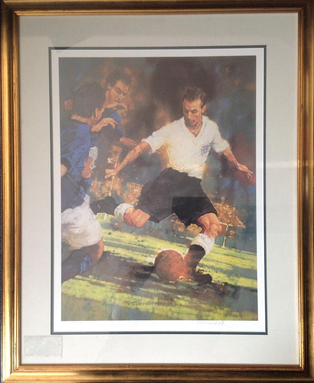 Football Sir Stanley Mathews 35x28 framed and mounted print limited edition 570/650 signed in pencil
