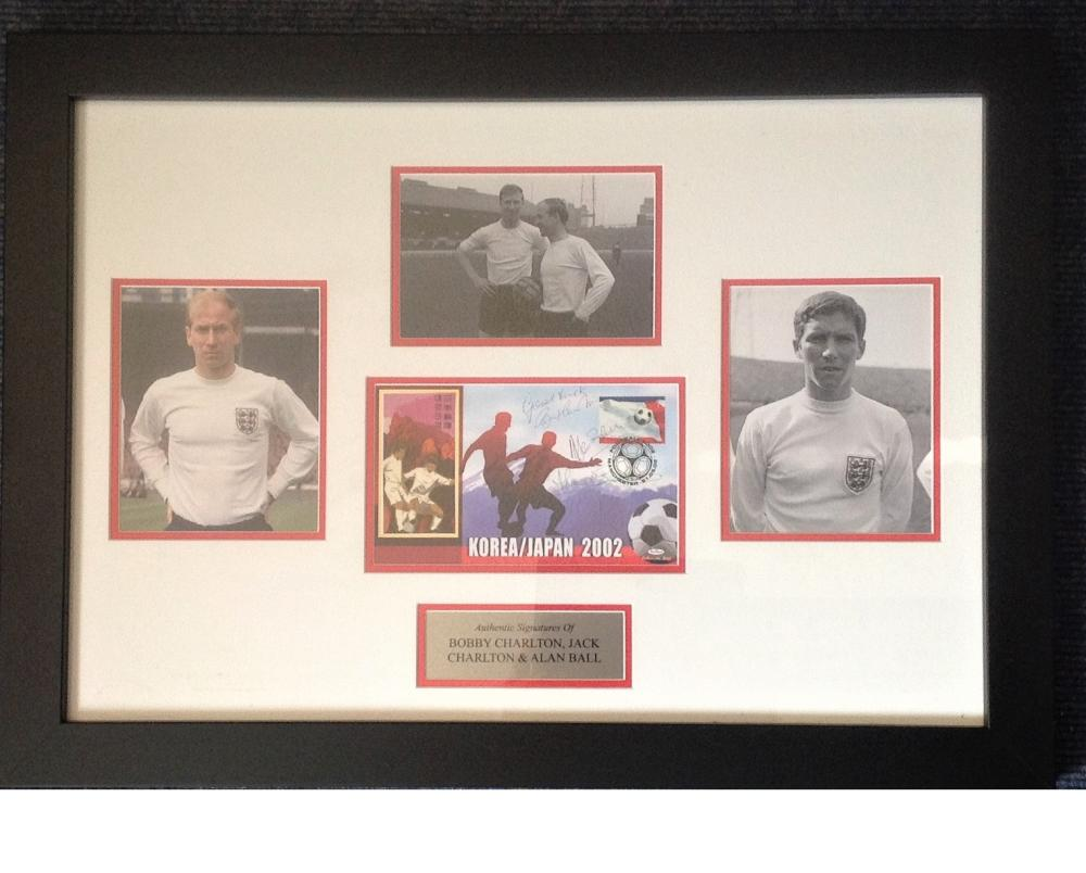 Football Bobby Charlton, Jack Charlton and Alan Ball 18x25 framed and mounted signature piece