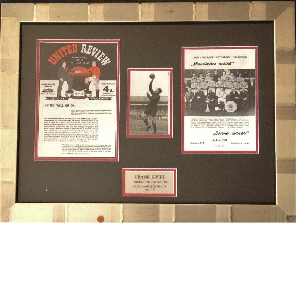 Football Frank Swift Busby Babe 16x22 framed and mounted signature piece includes signed b/w