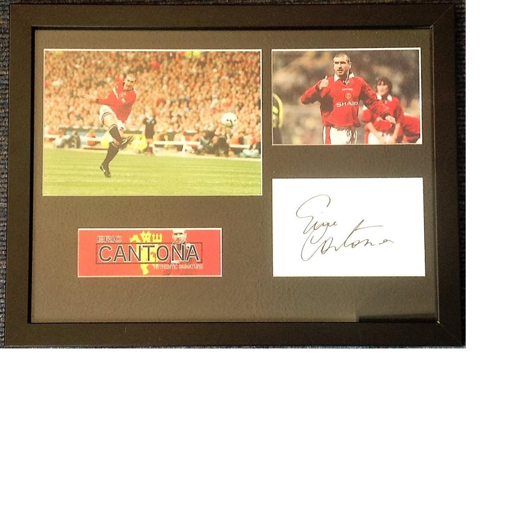 Football Eric Cantona 14x17 framed and mounted signature piece includes Two colour photos and signed