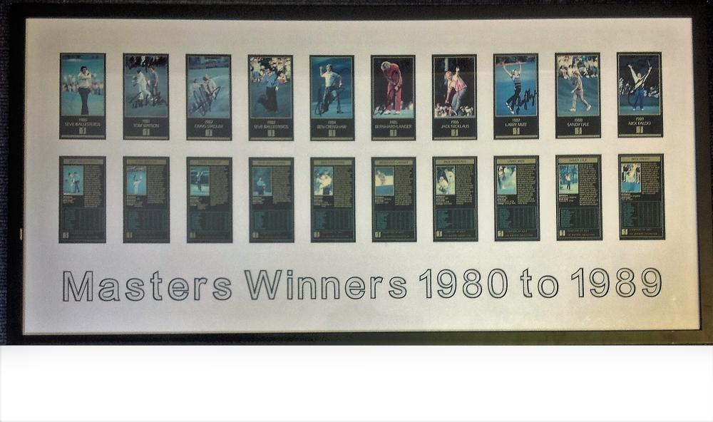 Golf Masters Winners 1980 to 1989 mounted and framed signature piece 10 signed colour cards from the