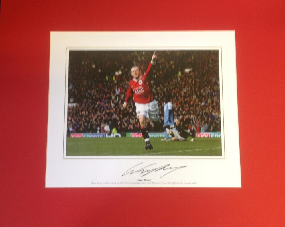 Football Wayne Rooney signed 16x20 mounted colour photo pictured celebrating for Manchester