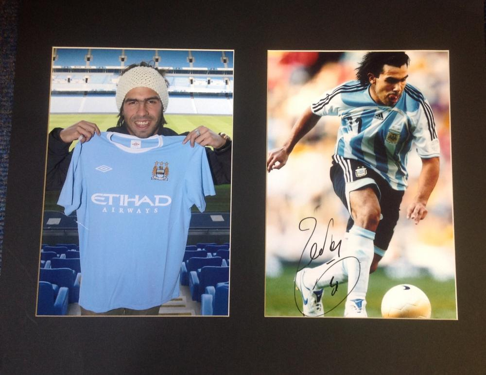 Football Carlos Tevez signed 16x20 mounted signature piece includes signed colour photo in action