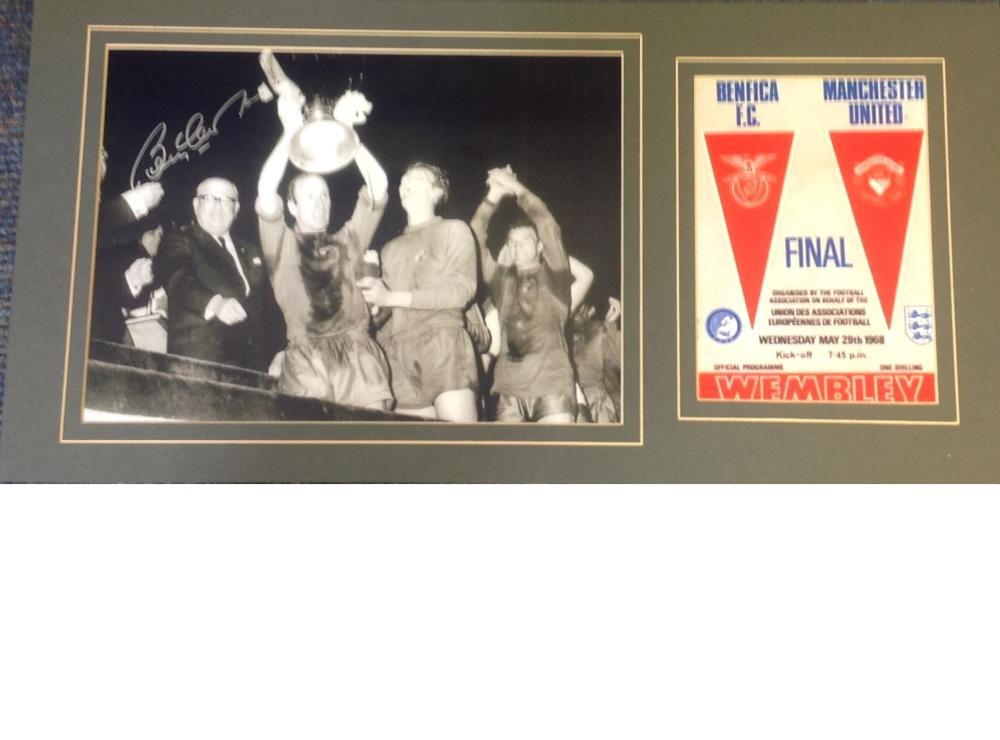 Football Bobby Charlton signed 10x20 mounted signature piece includes signed b/w photo celebrating