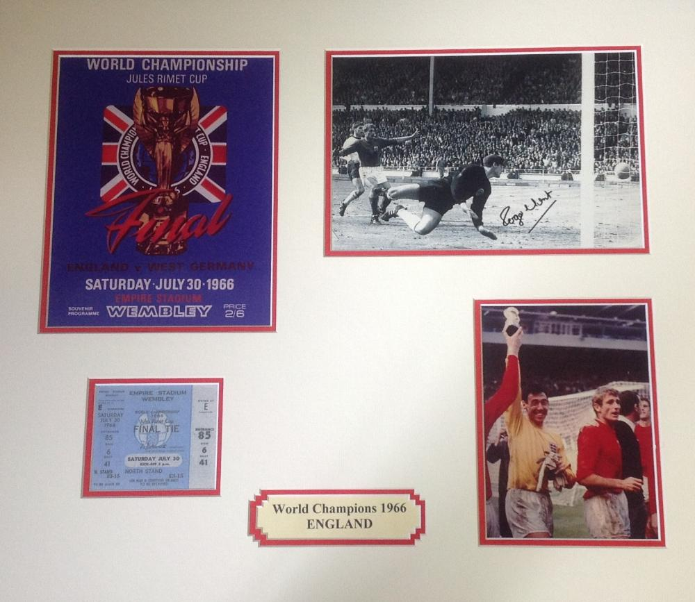 Football England World champions 1966 19x22 mounted signature piece includes signed Roger Hunt b/w