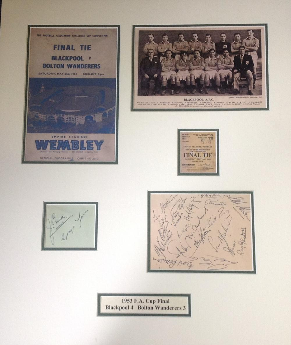 Football Blackpool 1953 Fa Cup signed 23x19 mounted signature piece includes signatures by the