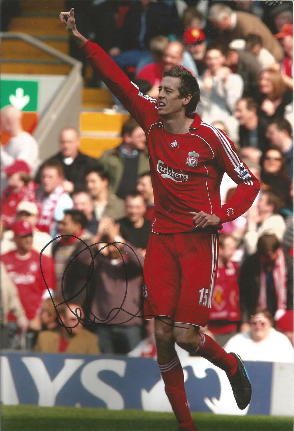 Football Peter Crouch 12x8 signed colour photo pictured during his time at Liverpool. Good condition