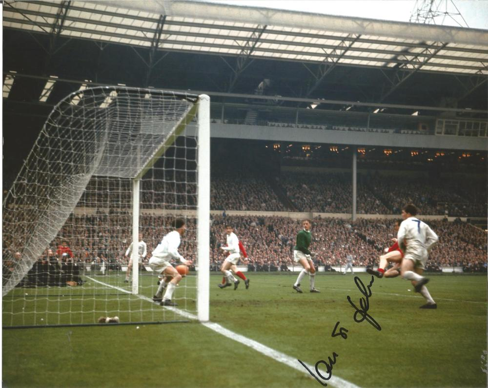 Football Ian St John 10x8 signed colour photo pictured scoring at Wembley for Liverpool. Good