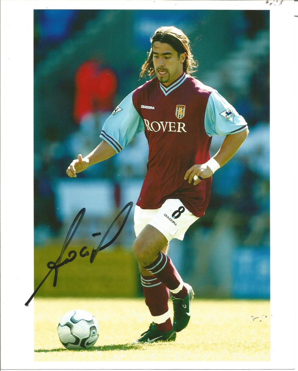 Football Juan Pablo Angel 10x8 signed colour photo pictured in action for Aston Villa. Good