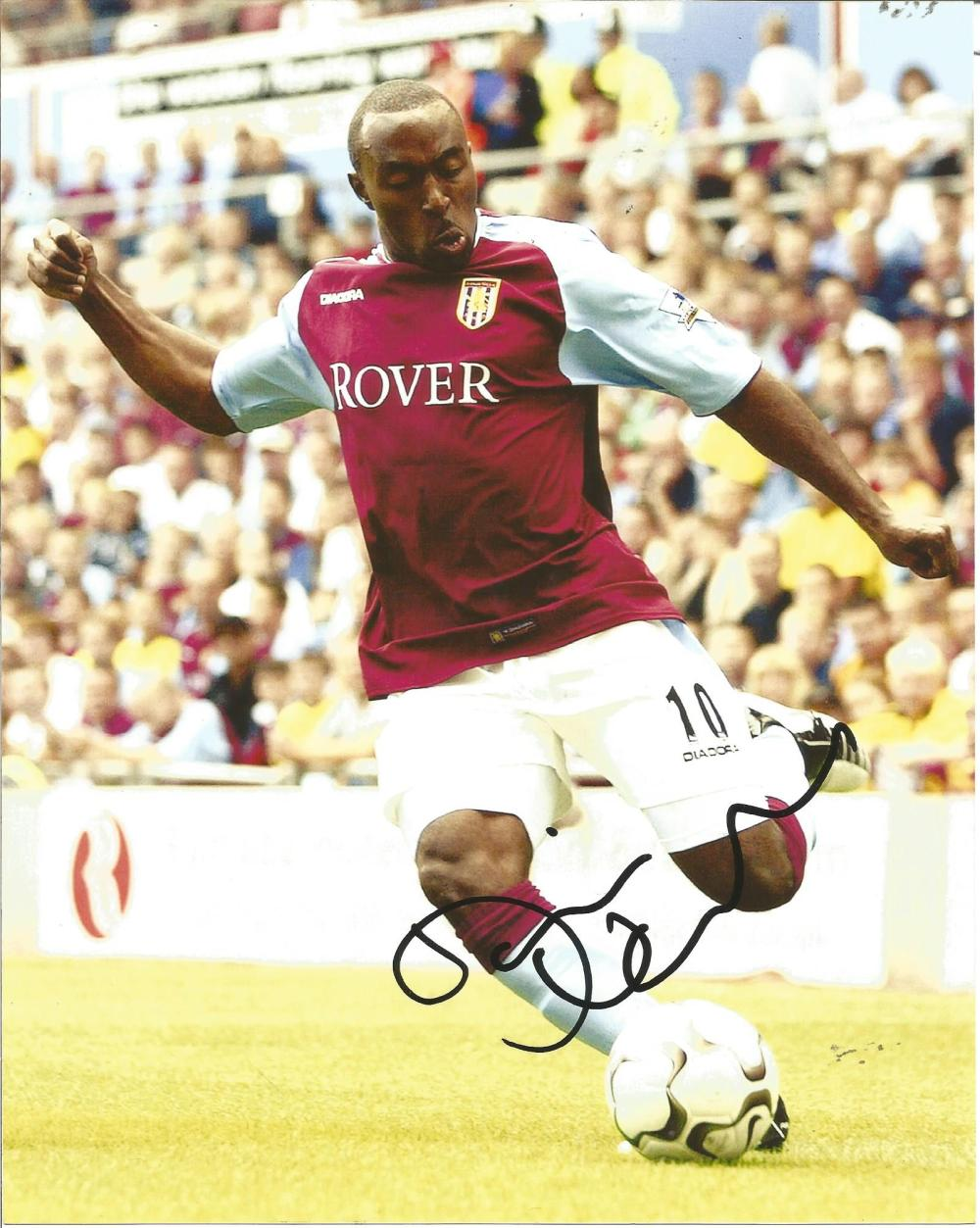 Football Darius Vassell 10x8 signed colour photo pictured in action for Aston Villa. Good